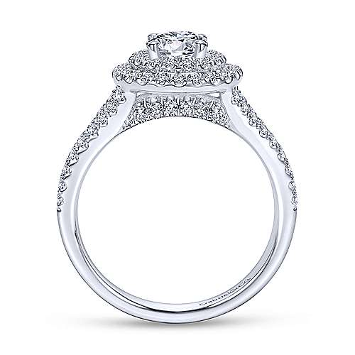 Fannie 14k White Gold Round Double Halo Engagement Ring angle 2