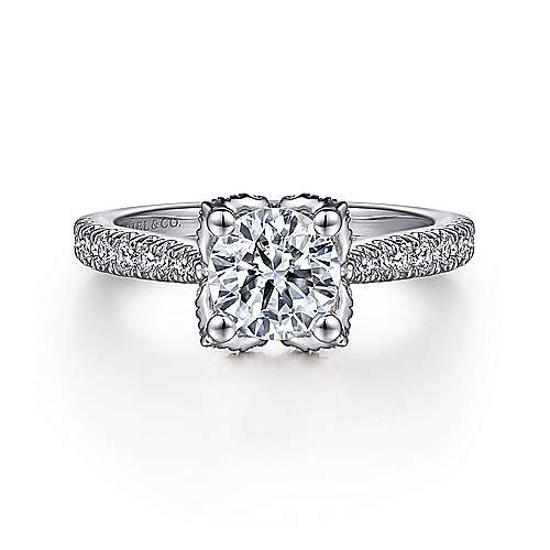 Gabriel - Farrah 14k White Gold Round Straight Engagement Ring