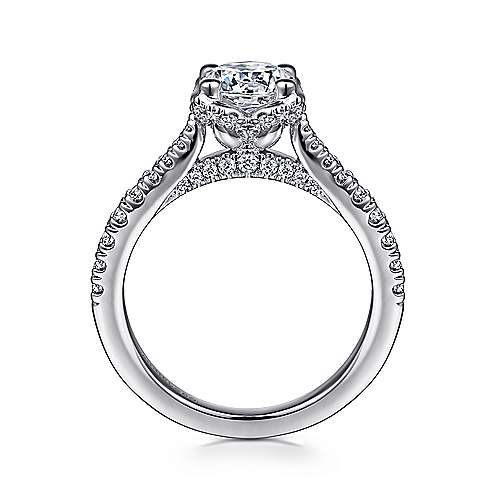 Farrah 14k White Gold Round Straight Engagement Ring angle 2