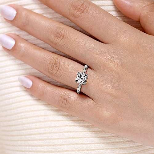 Farrah 14k White Gold Round Straight Engagement Ring angle 6