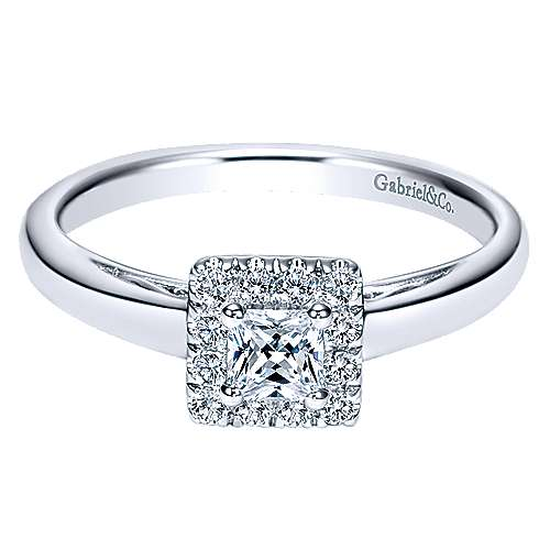 Gabriel - Fate 14k White Gold Princess Cut Halo Engagement Ring