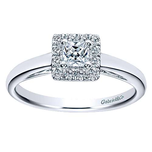 Fate 14k White Gold Princess Cut Halo Engagement Ring