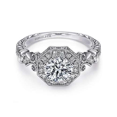 Gabriel - Feel Platinum Round Halo Engagement Ring