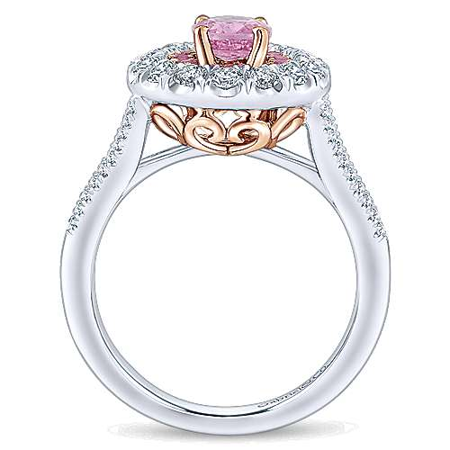 Femme 14k White And Rose Gold Oval Double Halo Engagement Ring angle 2