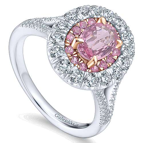 Femme 14k White And Rose Gold Oval Double Halo Engagement Ring angle 3