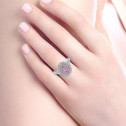 Femme 14k White And Rose Gold Oval Double Halo Engagement Ring angle 6