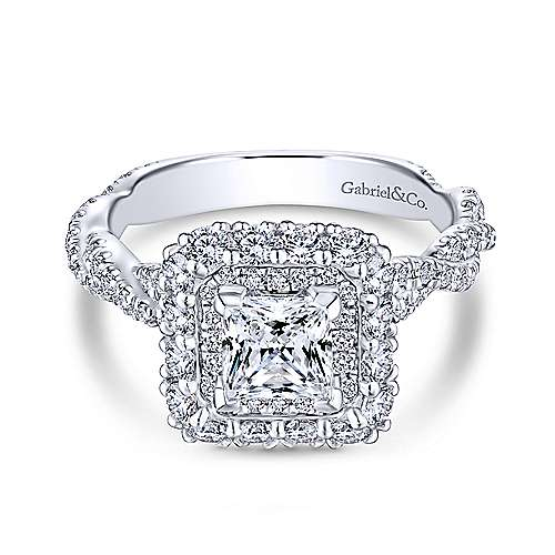 Gabriel - Finley 14k White Gold Princess Cut Double Halo Engagement Ring