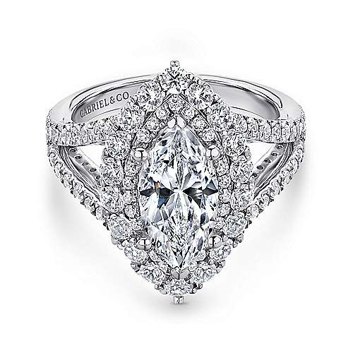 Gabriel - Finn 18k White Gold Marquise  Double Halo Engagement Ring