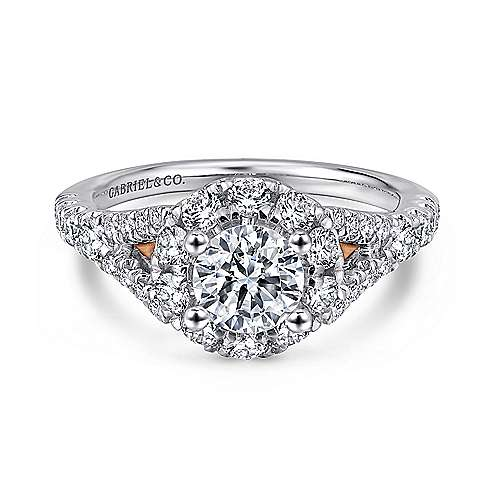 Gabriel - Fiona 14k White And Rose Gold Round Halo Engagement Ring