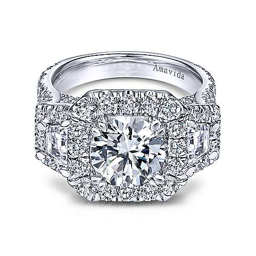 Gabriel - Flame 18k White Gold Round 3 Stones Halo Engagement Ring