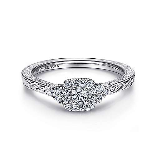 Gabriel - Flatiron 14k White Gold Round Halo Engagement Ring