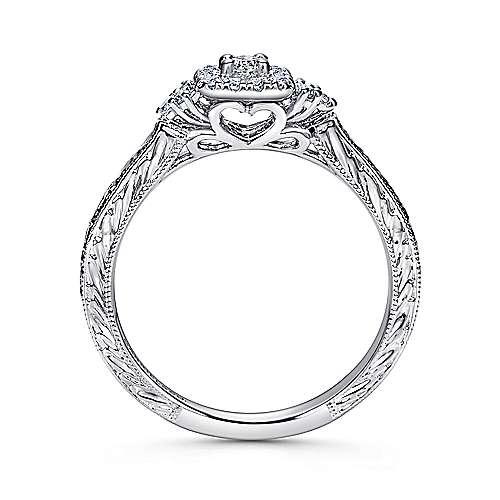 Flatiron 14k White Gold Round Halo Engagement Ring angle 2