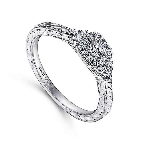 Flatiron 14k White Gold Round Halo Engagement Ring angle 3
