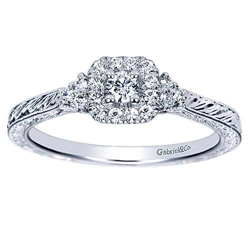 Flatiron 14k White Gold Round Halo Engagement Ring angle 5