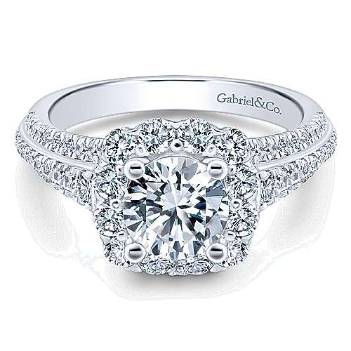 Gabriel - Fleur 14k White Gold Round Halo Engagement Ring