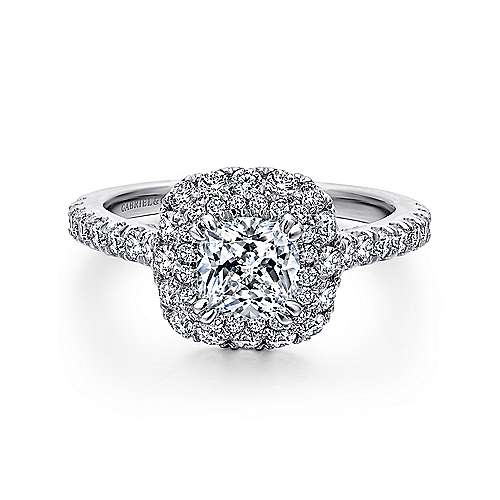 Gabriel - Flora 14k White Gold Cushion Cut Double Halo Engagement Ring