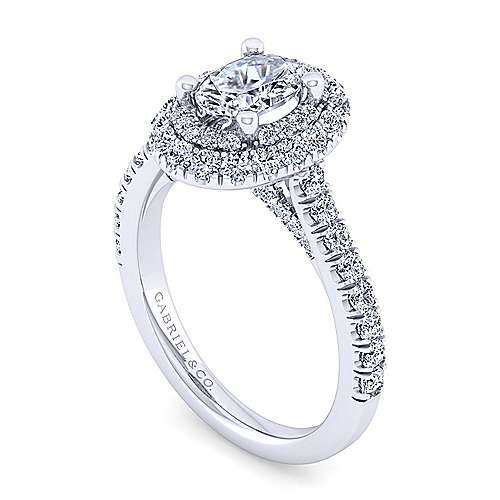 Flora 14k White Gold Oval Double Halo Engagement Ring angle 3