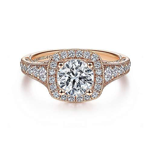 Gabriel - Florence 14k Pink Gold Round Halo Engagement Ring