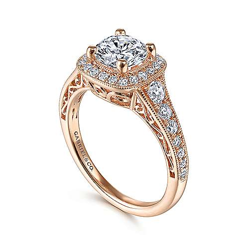 Florence 14k Rose Gold Round Halo Engagement Ring angle 3