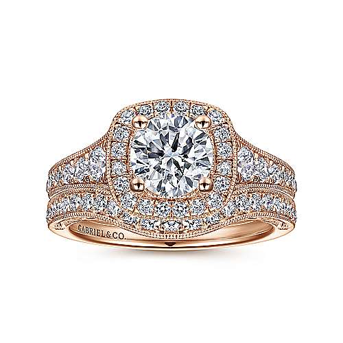 Florence 14k Rose Gold Round Halo Engagement Ring angle 4