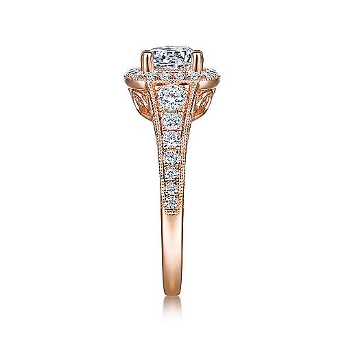 Florence 14k Rose Gold Round Halo Engagement Ring angle 5