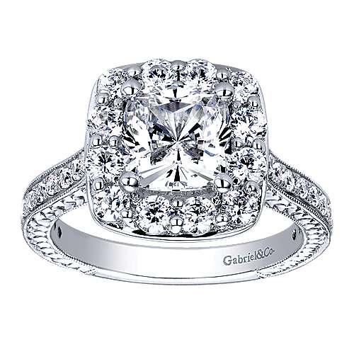 Florence 14k White Gold Cushion Cut Halo Engagement Ring angle 5