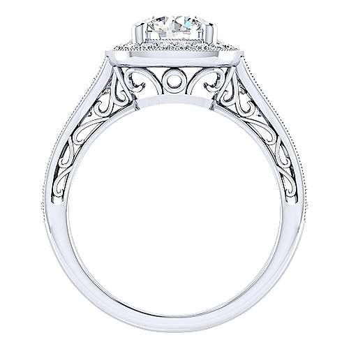 Florence 14k White Gold Round Halo Engagement Ring angle 2