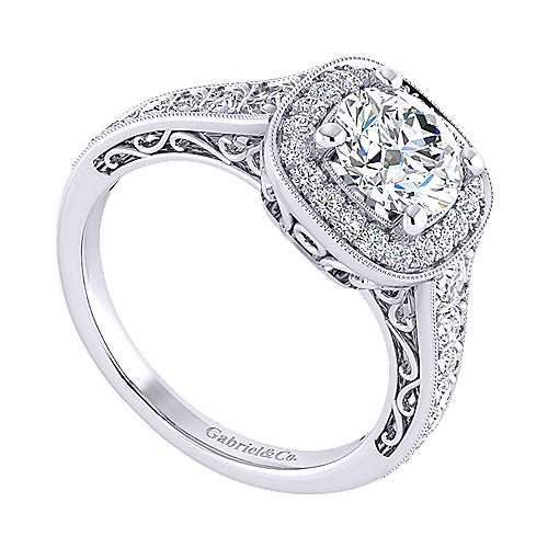 Florence 14k White Gold Round Halo Engagement Ring angle 3