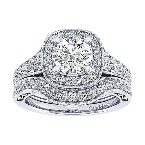 Florence 14k White Gold Round Halo Engagement Ring angle 4