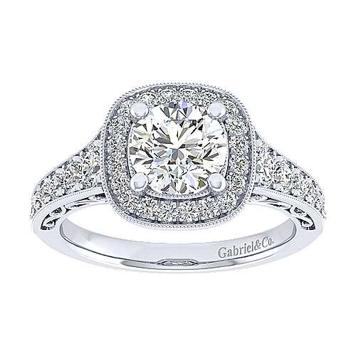 Florence 14k White Gold Round Halo Engagement Ring angle 5