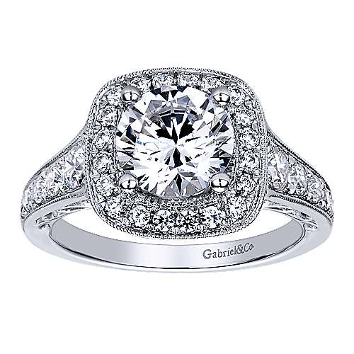 Florence 14k White Gold Round Halo Engagement Ring