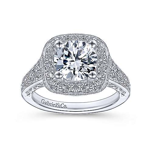 Florence 14k White Gold Round Halo Engagement Ring angle 5