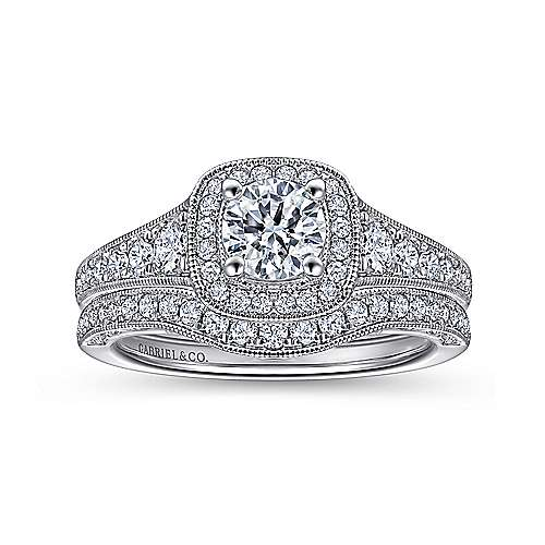 Florence 14k White Gold Round Halo Engagement Ring