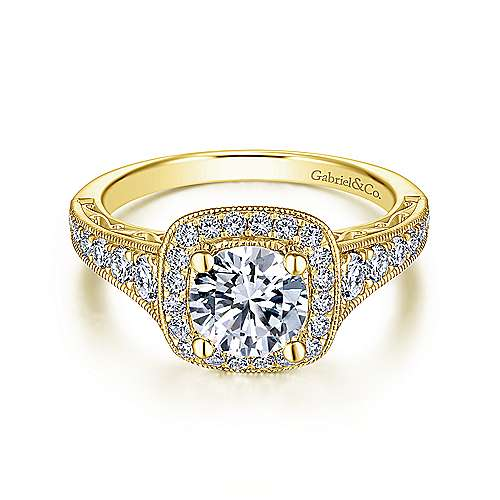 Gabriel - Florence 14k Yellow Gold Round Halo Engagement Ring