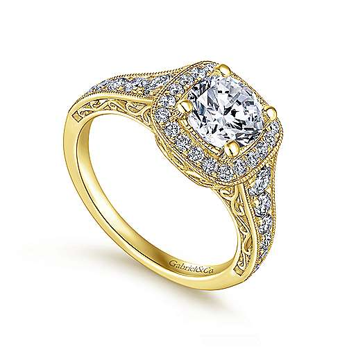 Florence 14k Yellow Gold Round Halo Engagement Ring angle 3
