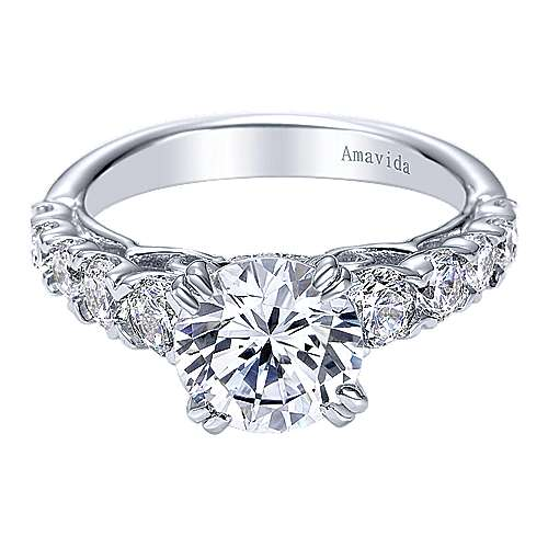 Gabriel - Flores 18k White Gold Round Straight Engagement Ring