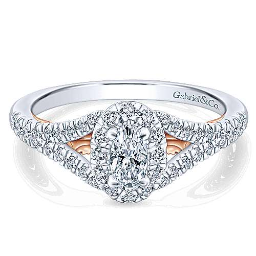 Gabriel - Flow 14k White And Rose Gold Oval Halo Engagement Ring