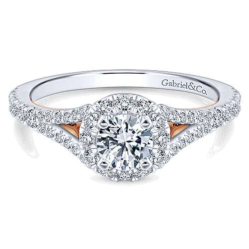 Gabriel - Flow 14k White And Rose Gold Round Halo Engagement Ring
