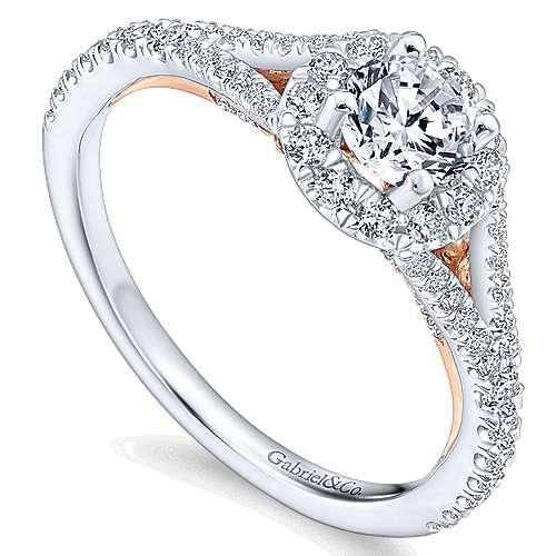 Flow 14k White And Rose Gold Round Halo Engagement Ring