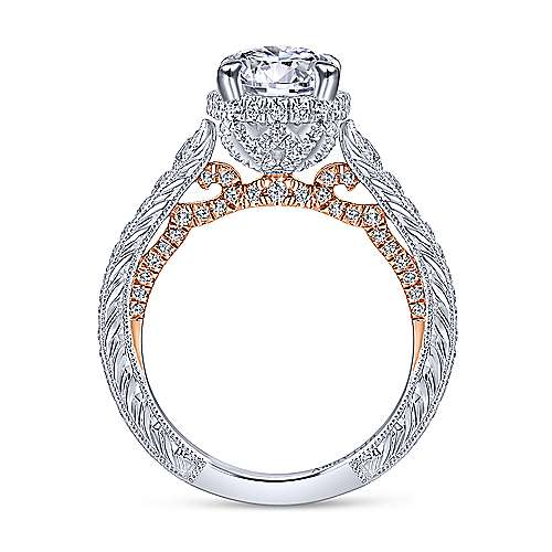 Fonda 18k White And Rose Gold Round Halo Engagement Ring