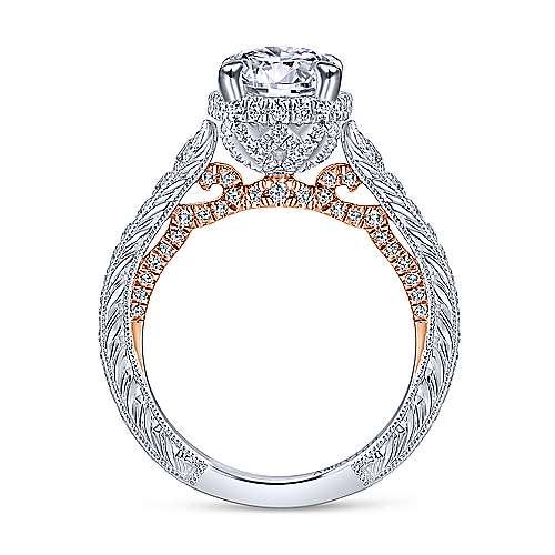Fonda 18k White And Rose Gold Round Halo Engagement Ring angle 2