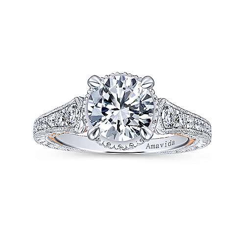 Fonda 18k White And Rose Gold Round Halo Engagement Ring angle 5