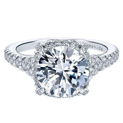 Gabriel - Forever 18k White Gold Round Halo Engagement Ring
