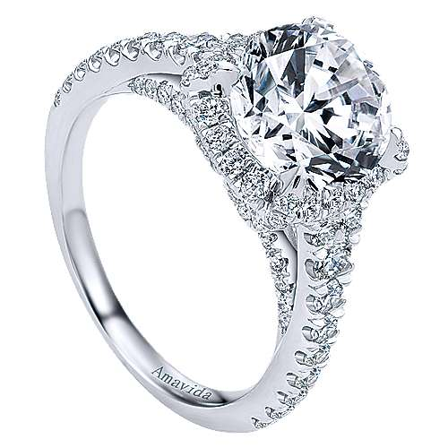 Forever 18k White Gold Round Halo Engagement Ring