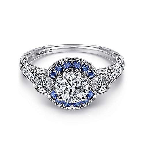 Fortune Platinum Round Halo Engagement Ring