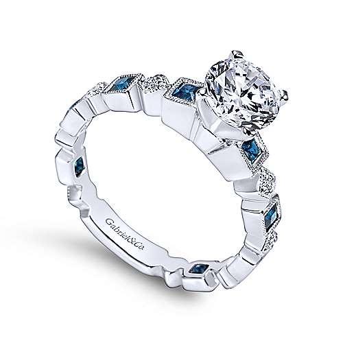 Frances 14k White Gold Round Straight Engagement Ring angle 3