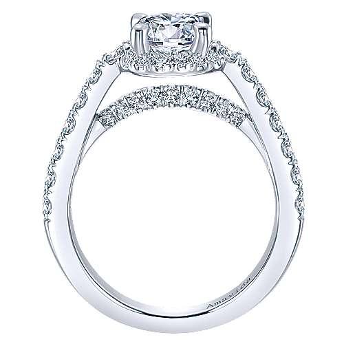 Francia 18k White Gold Round Halo Engagement Ring