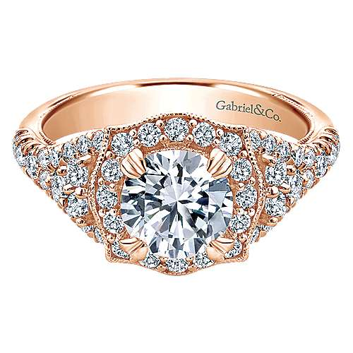 Gabriel - Francine 14k Rose Gold Round Halo Engagement Ring