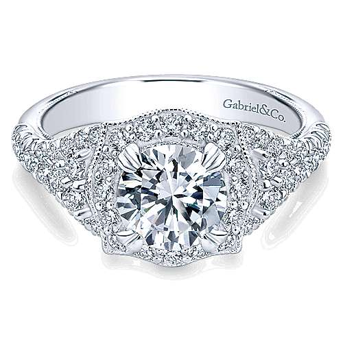 Gabriel - Francine 14k White Gold Round Halo Engagement Ring