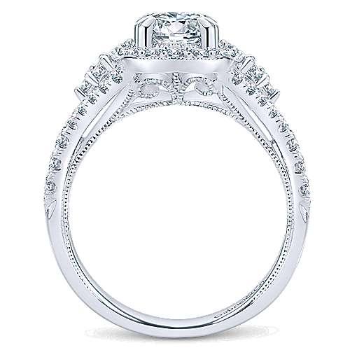 Francine 14k White Gold Round Halo Engagement Ring